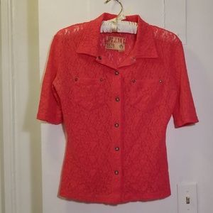 Jean Paul Gaultier pink lace botton down top Small